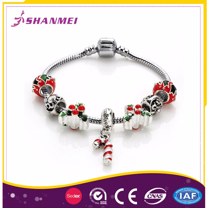 Wholesale Bangle Bracelet Stainless,Christmas Glass Beads Bracelet