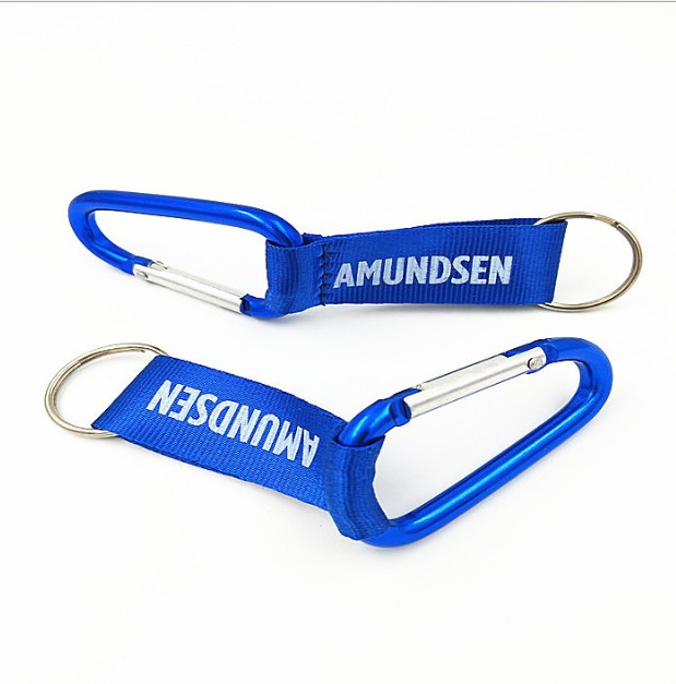 Customized Blue Aluminum And Polyester Lanyard Carabiner Key chain