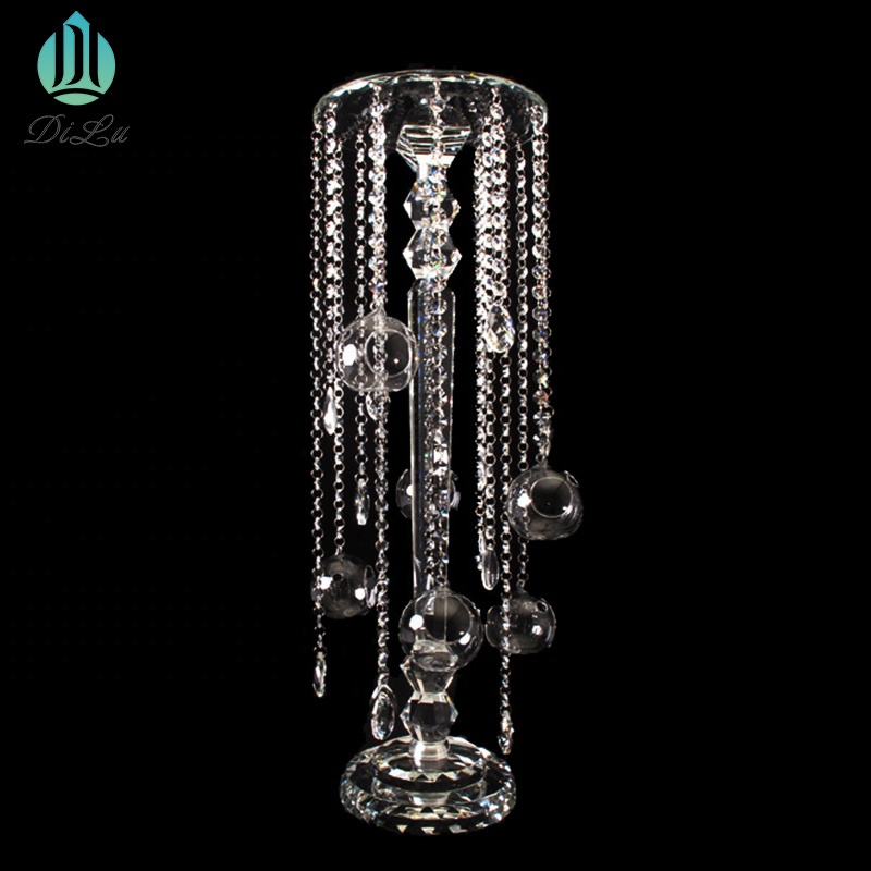 Shining 100cm 5 arms Tall Glass Crystal Candle Holders / Candlestick For decoration wedding table Candle Holder for Home Decor