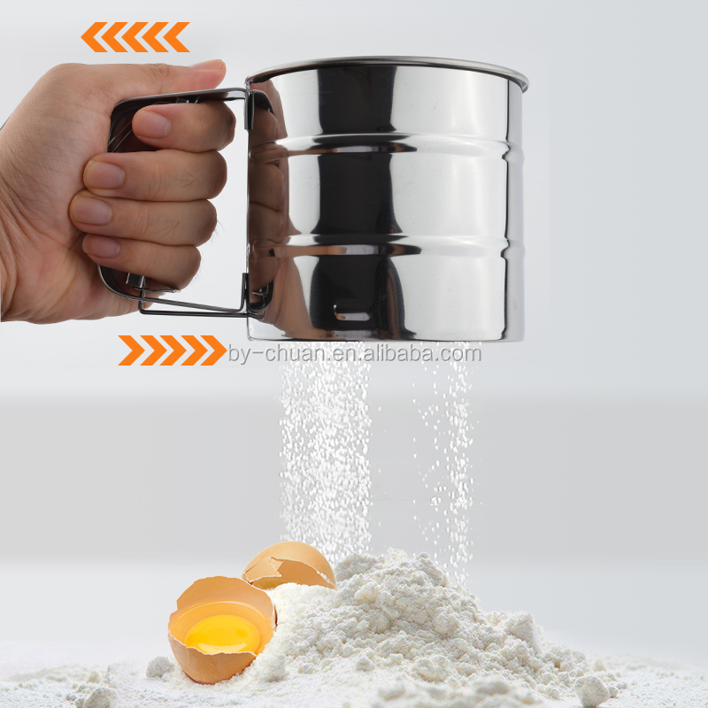 kitchen cup shape mesh flour sifter mechanical baking icing sugar shaker sieve stainless steel flour sieve
