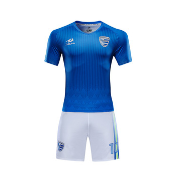 Zhouka Personalizado Azul E Branco Uniforme do Futebol Por Atacado 2018  Novo Item Sublimação Full Set c8dfb4499c9e3