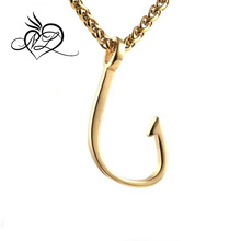 "Fish Hook Stainless steel Pendant Necklace, with 24"" Link Chain"