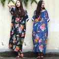 חדש הלבוש 2015 האביב נשים כחול לבן פורצלן החלוק בציר הדפסה Ultra זמן חופשי כותנה פשתן נשים שמלת מקסי 083