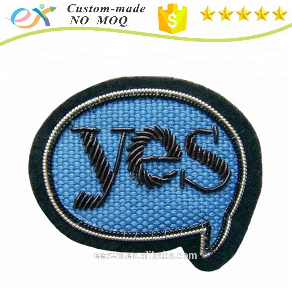 factory customize sew-on bullion wire letter badge