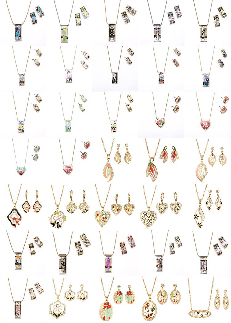 RAKOL bijoux en acier inoxydable émail émail plaqué or collier boucles d'oreilles ensemble EN040