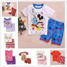 2016 summer new cotton girls short sleeve sets kids pajamas pijama infantil for boys children s