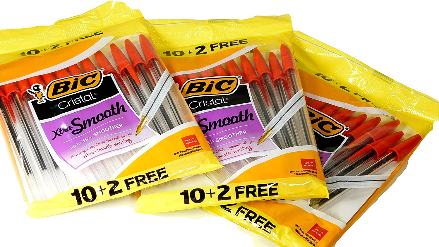 Bic Cristal Xtra Smooth Easy Glide Red Ink Ball Stick Pens (36 Count)