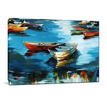 Latest Bright Wall Hanging Sailboat Pop Art Abstract boat Oil Painting