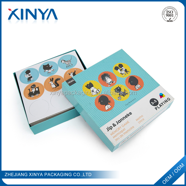 XINYA China Cheap Products Hard Paper Cartoon Learning Playing Cards With Company Logo