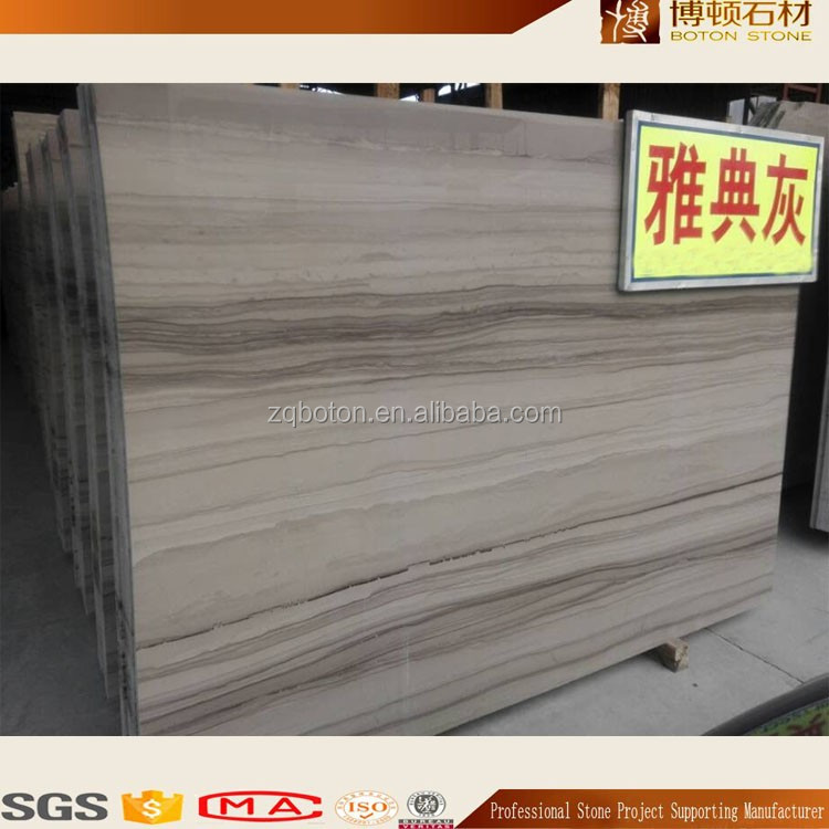 Natural Wood Texture Black and White Marble Slab for Stone Furniture