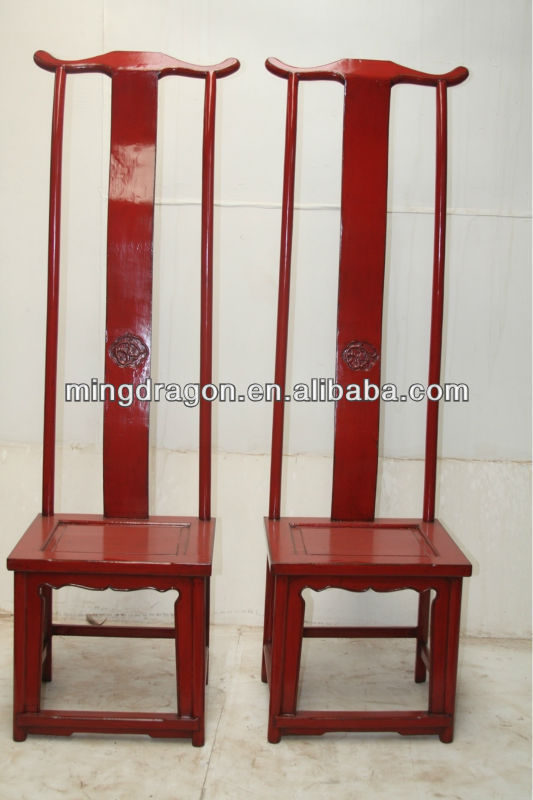 Chinese Antique High Back Red Dining Chair Wooden Carved Furniture Product On Alibaba