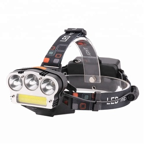 COB 3 T6 Head Lamp 3 Modes USB Output Power Bank Headlamp with Safty Warning Light