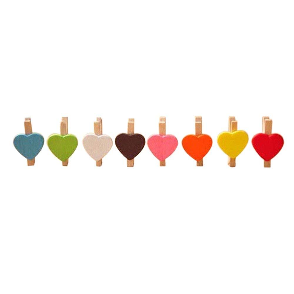 TOOGOO(R) Mini Sweet Love Heart Shape Wooden Clips Message Photo Holder Card Paper Pegs Decor Photography Random Color(20 Pcs)