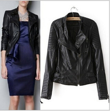 Dámska čierna koženková bunda na zips – motorkársky štýl z Aliexpress – B-1402