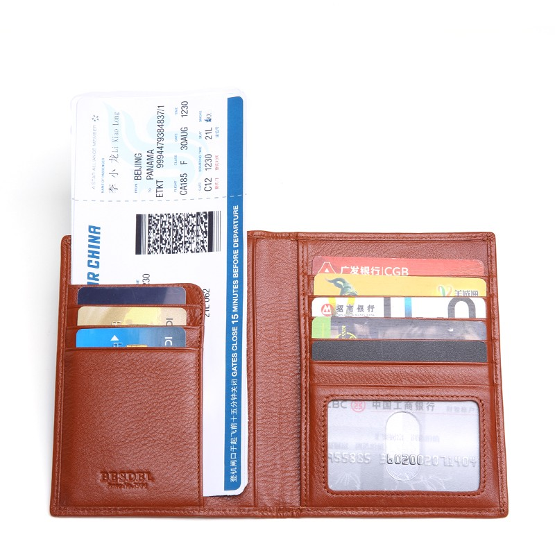 Hot sale free sample credit card passport cover leather passport holder