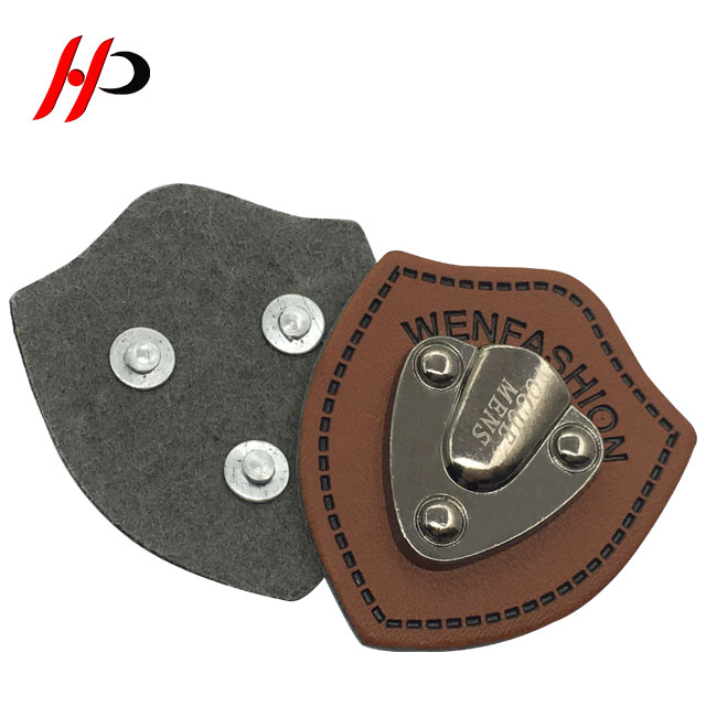 Nice design popular printed tin garment metal PU wholesale leather patches label