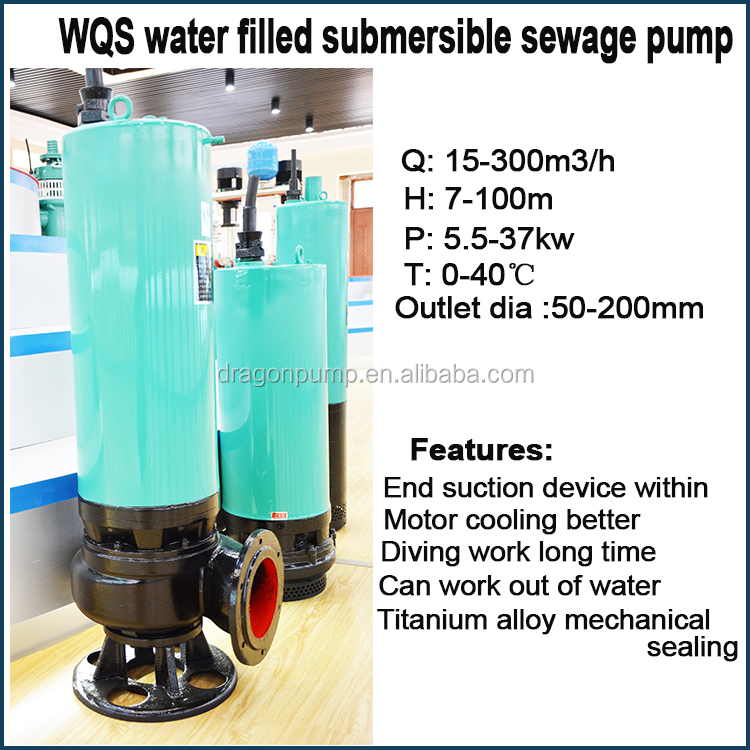 vertical cast iron 3 phase 7hp sewage submersible water pump