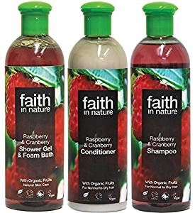 Faith in Nature - Raspberry & Cranberry Shampoo, Conditioner & Shower Gel
