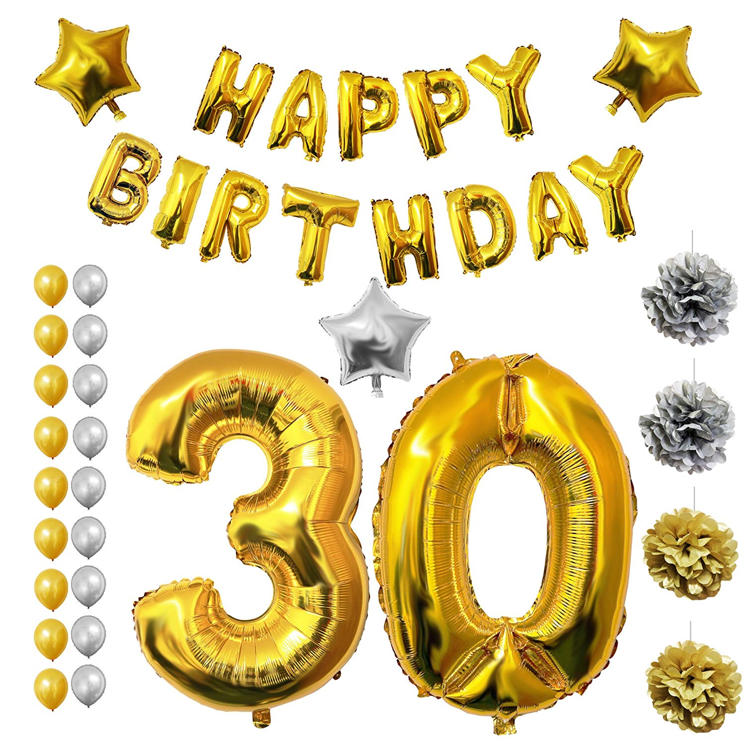 """30th Happy Birthday Party Balloons, Supplies & Decorations by Belle Vous - 26 Pcs Set - Large 30 Year Foil Balloon 12"""" Gold & Silver Latex Balloon Decoration - Decor Suitable for Adults Men & Women"""