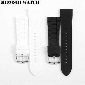 Waterproof Replacement Black Silicone Watchband 23mm Rubber Watch Strap