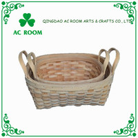 Wholesale cheap art minds woven fruit gift natural wood basket with handle