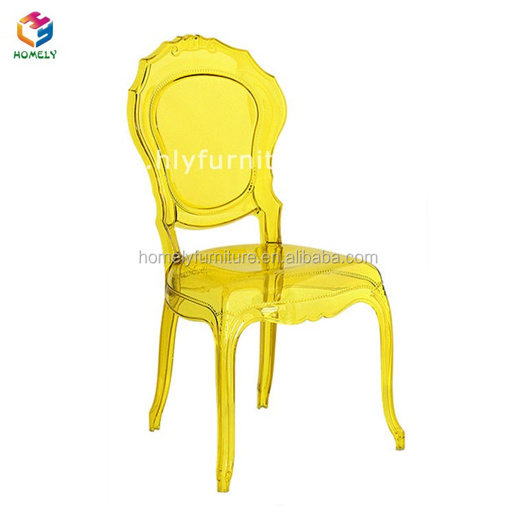 Elegant cheap strong Restaurant Hotel Event Wedding Party polycarbonate resin transparent stacking acrylic princess chair
