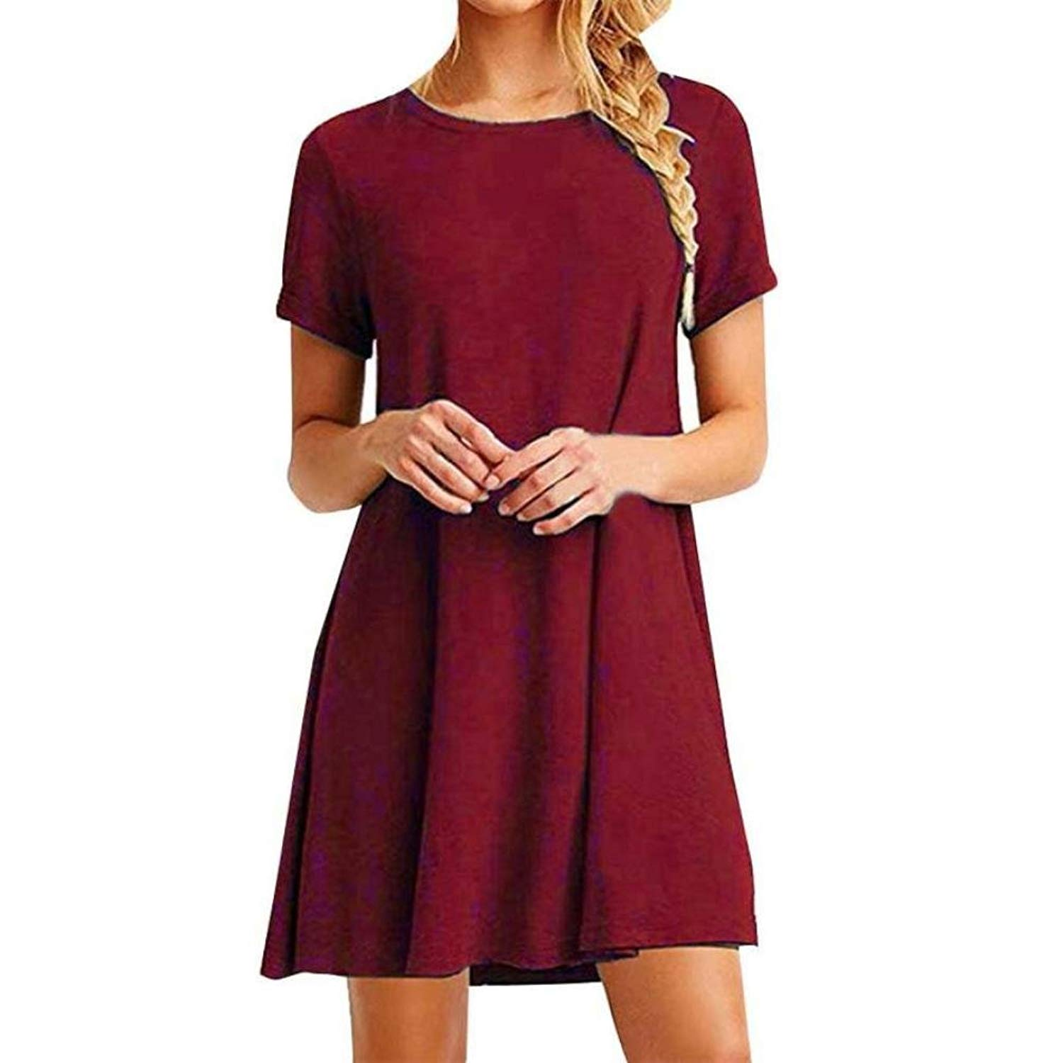 BCDshop Women Casual T Shirt Tops Dress Short Sleeve Ladies Solid Color Summer Tunic