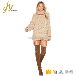 Hot Sell Fashion Girl Turtleneck Round Hem Knit Western Style Winter Dress