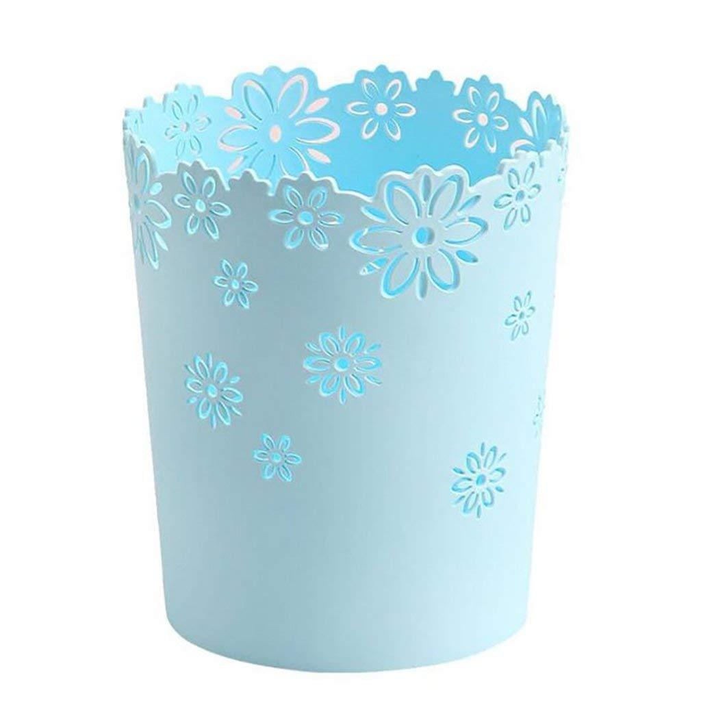 Trash Can Creative Wastebasket Decorative, Hmane Hollow Flower Shape Plastic Lidless Wastepaper Baskets, Round For Bathroom, Bedroom, Office (Color : Blue)