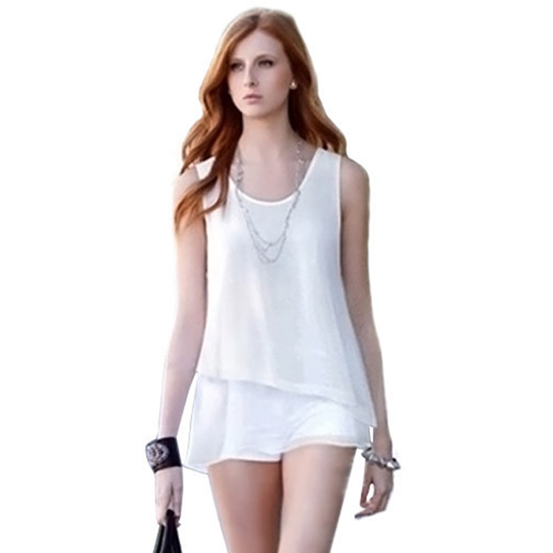 64790b7888d72 Buy Women Loose Double Layered Chiffon Vest Summer Clothing Casual Sleeveless  Vest Shirt Blue White Tops Blouses in Cheap Price on m.alibaba.com