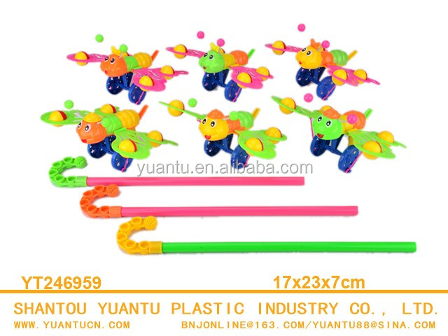 Happy kid toy plastic push toy pulling honey bee plastic hand push toy