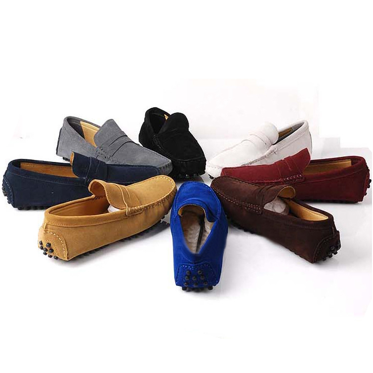 41fa561f1ea Get Quotations · US6-12 GENUINE Leather Comfort SLIP-ON Penny Loafers Mens  Car Shoes Moccasins Fashion
