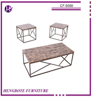 Antique wrought iron rectangle table with marble top