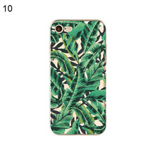 Flowers Palm Leaves Clear TPU Soft Phone Case for iPhone X 8 7 6 Plus