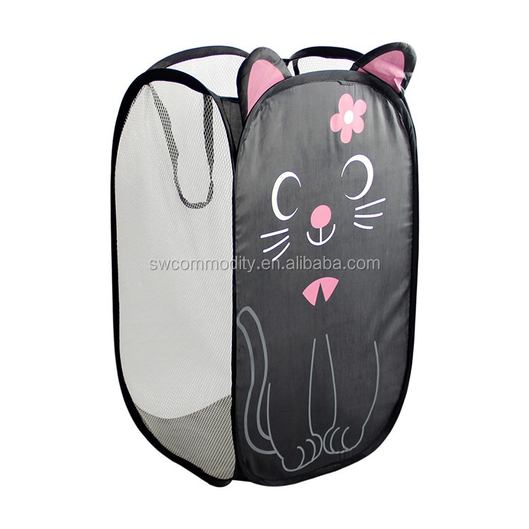 Cute Folding Pop Up Laundry Basket Collapsible Hamper Animal Shape Printed