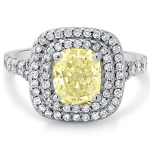Gracioso Moda Prata Esterlina 925 Cushion Cut Amarelo Claro Duplo <span class=keywords><strong>Diamante</strong></span> <span class=keywords><strong>de</strong></span> Halo <span class=keywords><strong>Anel</strong></span> <span class=keywords><strong>de</strong></span> Noivado