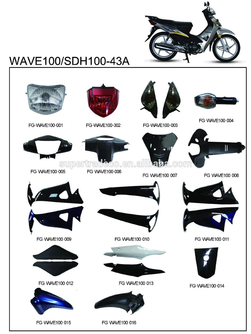 Complete Plastic Parts Wave100