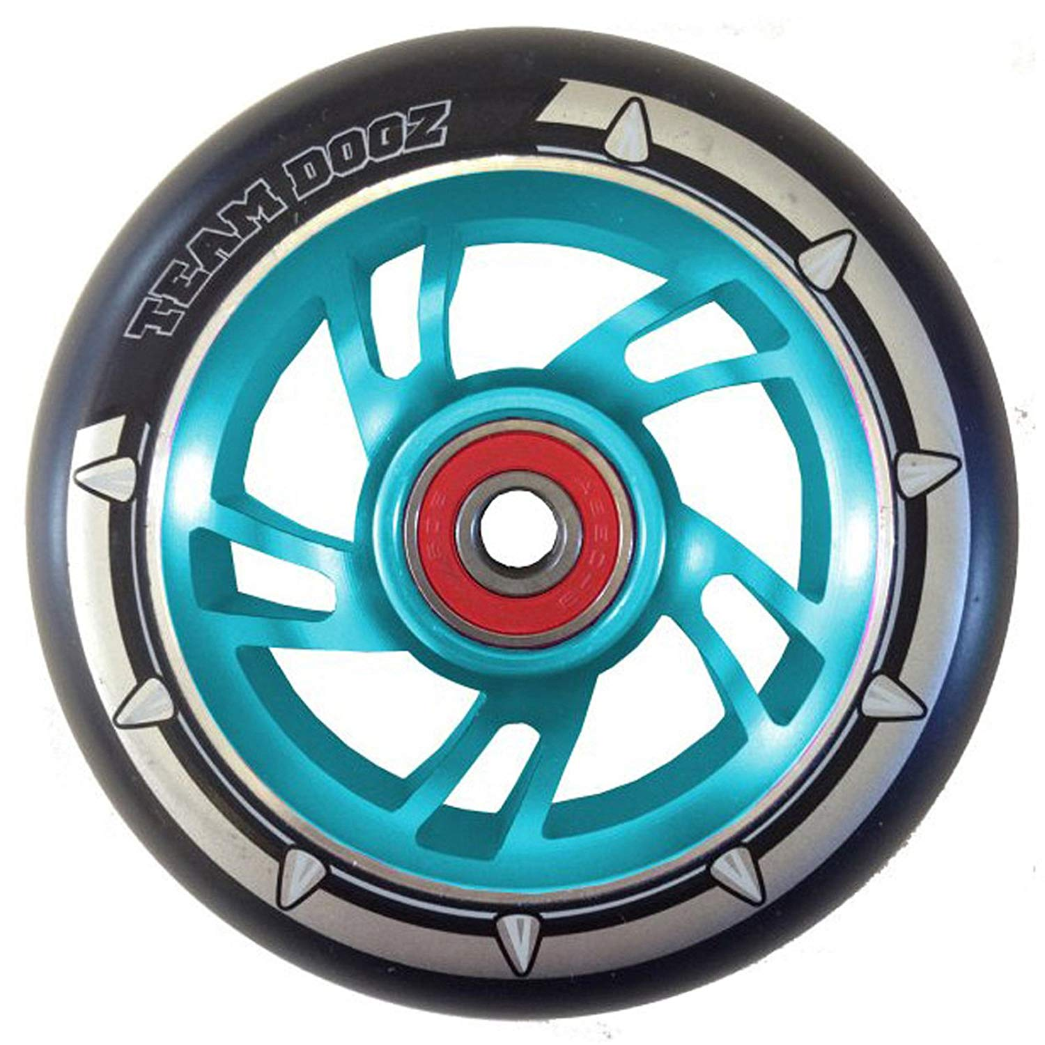 Team Dogz 100mm Swirl Scooter Wheel - Blue Core with Black Tyre