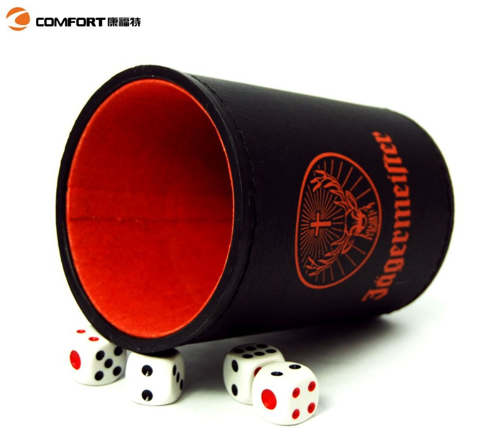 PVC leather dice cup China supplier bar dice shaker set for fun luxury bar set