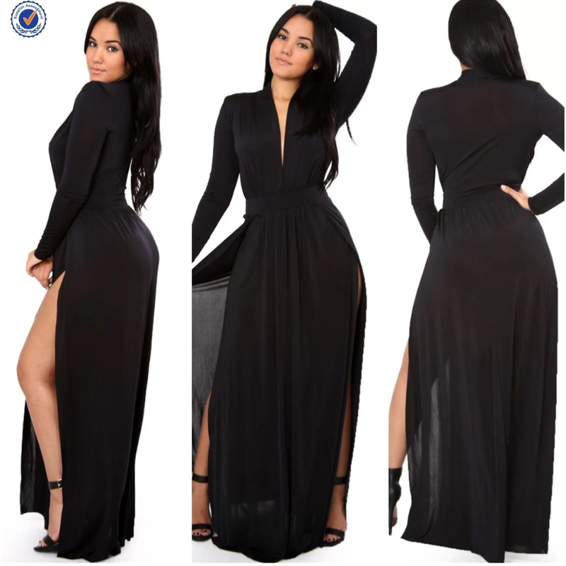 Long Sleeve Maxi Dress Plus Size Slit Plus Dress Gallery