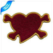 Heart shape towel embroidery chenille patches with metallic border patch