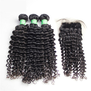 Best selling products deep curly Brazilian hair bundles with closure lace virgin curly weave women's hair weave