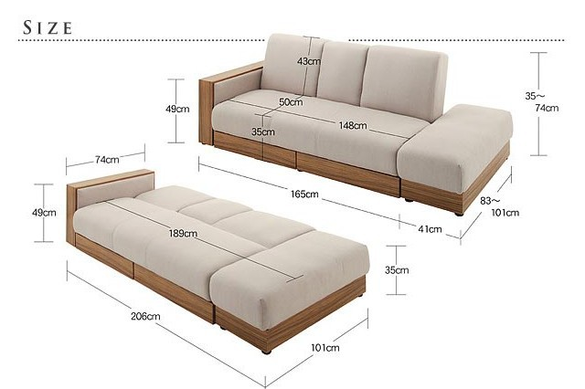 Multifunctional Fabric Sofa Bed Living Room Wood Frame With Storage