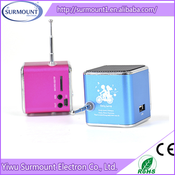 Mini speaker TD-V26 with FM Radio Support TF/SD Card mini speakers Big Sound LED Music Player for phone computer tablet pc