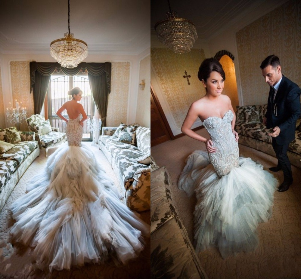 Cathedral Length Train Wedding Gowns: Cathedral Train Mermaid Wedding Dresses Sweetheart