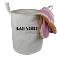 Printed Canvas Round Bathroom Storage Basket Hamper/ Collapsible Lightweight Laundry Bag Basket
