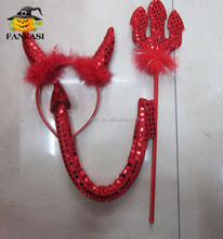 Red Sequin Devil Horn Headband Fork and Tail For Halloween