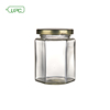 wholesale customized high quality Hexagonal Honey Jam Glass Jar gourmet hex Jars with screw tin Cap for food, candy, honey