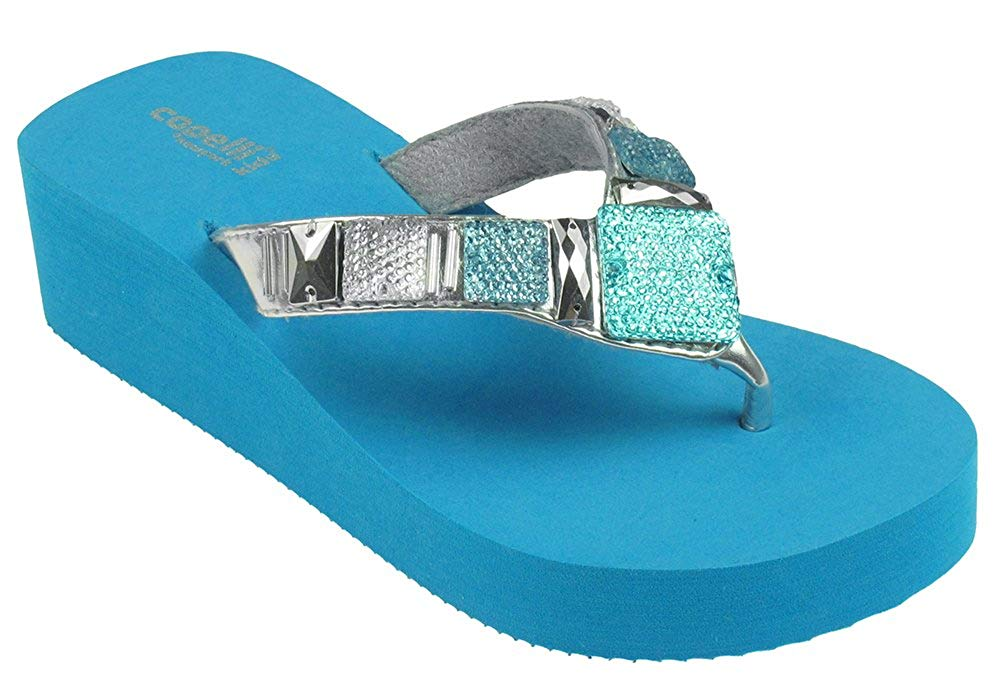 Capelli New York Girls Metallic Faux Leather Thong Fashion Flip Flops With Mixed Gems