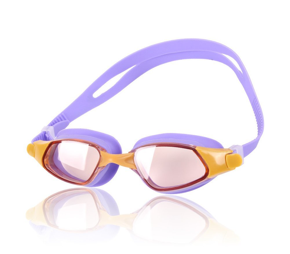 Swimming Goggles - Soft Silicone Anti-fog Swim Goggles - With Long Lasting Anti Fog Technology for Kids - With Uv Protection Plating Glasses - Soft and Durable Silicone Head Strap with Easy to Adjust Head-strap - Come with Free Earplugs and Goggle Box - 100% Satisfaction Money Back Guarantee